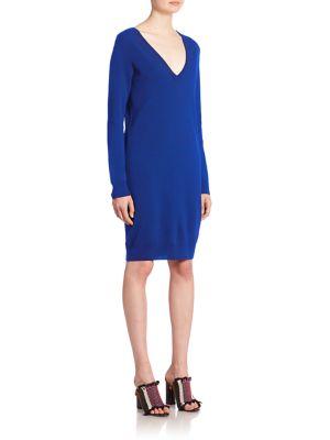 Button-Back Wool Knit Dress