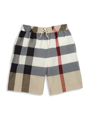 Little Boy's & Boy's Check Swim Trunks