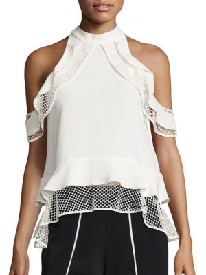 Window Pane Ruffle Cold Shoulder Top