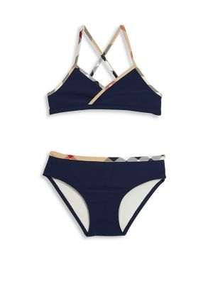Little Girl's & Girl's Two-Piece Check-Trim Bikini