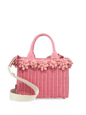 Midollino Floral-Embellished Wicker & Canvas Tote