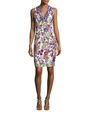 Cady Lace Applique Floral-Print Sheath Dress