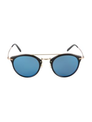 Remick 50MM Round Mirrored Sunglasses