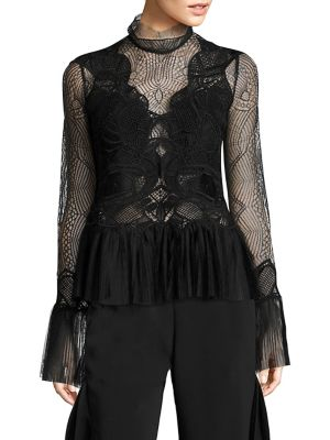 Dome Lace Pleated Peplum Top