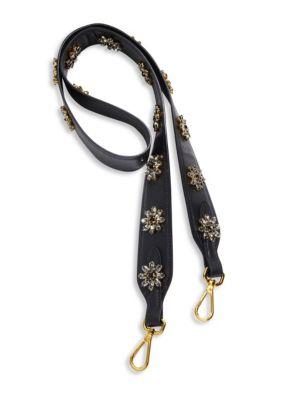 Crystal-Embellished Saffiano Leather Shoulder Strap