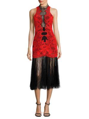 Dome Lace Applique Midi Dress