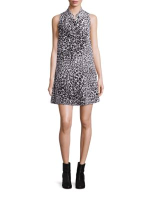Mina Leopard Shirt Silk Dress