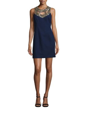 Carlton Embellished Silk Shift Dress