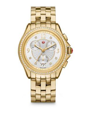 Belmore Chronograph Diamond & Goldtone Stainless Steel Bracelet Watch
