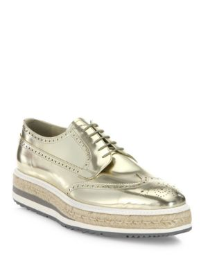 Metallic Leather Platform Wingtips