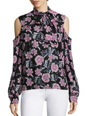 COLLECTION Cold Shoulder Tie Neck Blouse by Saks Fifth Avenue