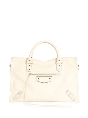 SMALL CLASSIC METALLIC EDGE CITY LEATHER TOTE - BEIGE