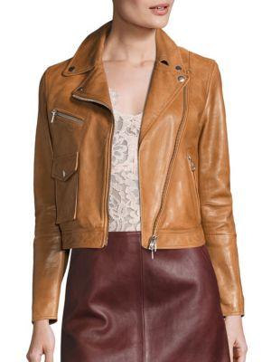 Cropped Leather Moto Jacket by SET