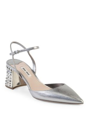 Jeweled Heel Metallic Leather Pumps