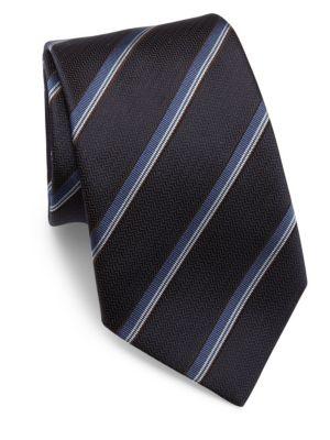 Striped Woven Jacquard Silk Tie