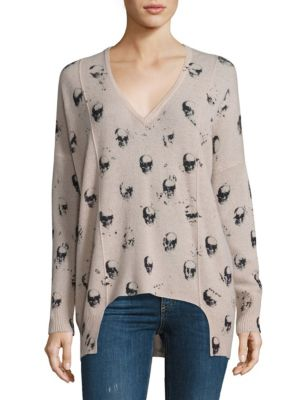 Hollis Cashmere Skull-Print Sweater