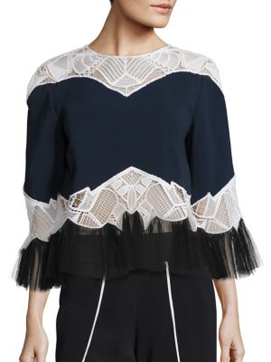 Lace Applique Peplum Blouse