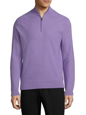 RALPH LAUREN Half Zip Wool Blend Sweater