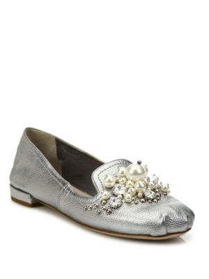 Jeweled Metallic Leather Loafers