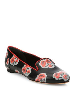 Floral-Print Leather Smoking Loafers