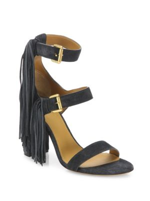 Maya Tasseled Suede Block-Heel Sandals