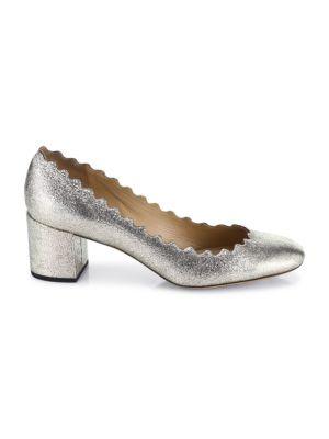 Lauren Metallic Leather Block Heel Pumps