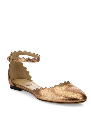 Lauren Metallic Leather Ankle-Strap Flats