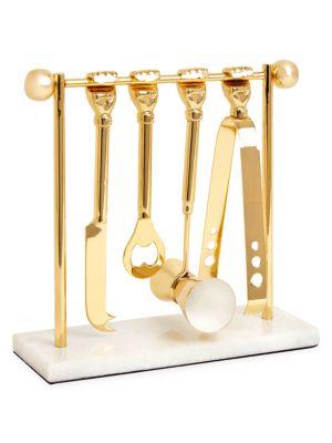 Five-Piece Macho Mantiques Barbell Brass Barware Set