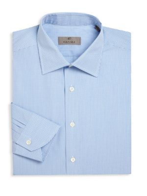 Regular-Fit Micro Checked Dress Shirt