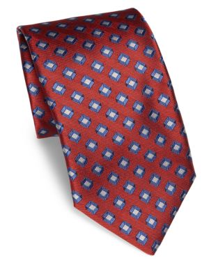 Cube Patterned Silk Tie