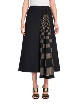 Tulle Grid-Inset Wool & Silk Skirt