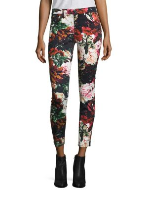 Floral Print Ankle Jeans