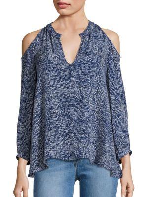 Cold Shoulder Printed Silk Blouse