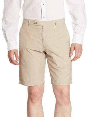 COLLECTION Textured Cotton Blend Shorts