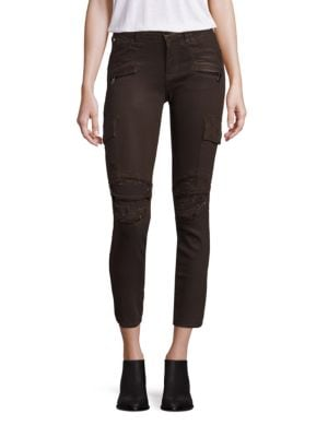 Colby Distressed Moto Skinny Cargo Jeans