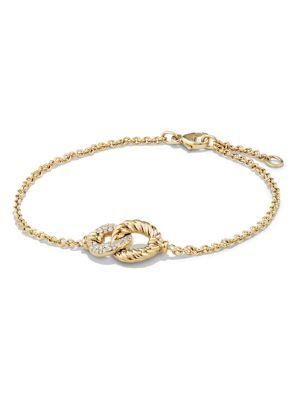 Belmont Curb Link Pendant Bracelet with Diamonds in 18K Gold