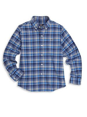 Toddler, Little & Big Boy Star Island Plaid Shirt