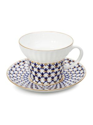 Wave Two-Piece Porcelain Teacup & Saucer Set