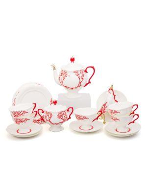 Set of Twenty Coral Porcelain Tea