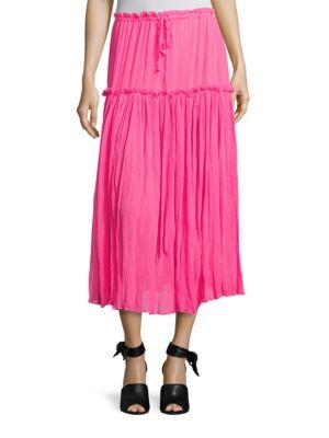 Dulce Accordion Silk Midi Skirt