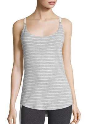 Fitness Striped Racerback Tank Top