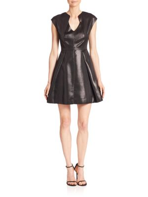 Metallic Jacquard Fit & Flare Dress