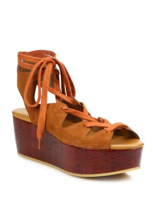 Liana Suede Lace-Up Wedge Platform Sandals