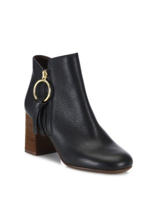 Dustin Leather Block-Heel Booties