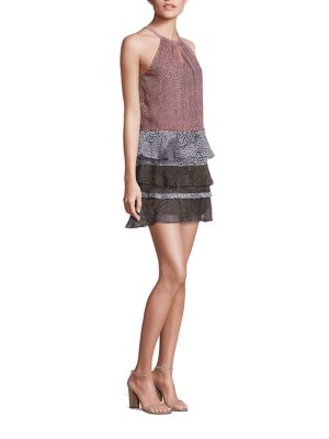 Leomi Printed Silk Tiered Dress