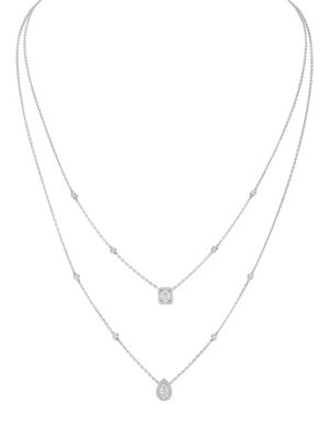 My Twin Diamond & 18K White Gold 2-Row Necklace