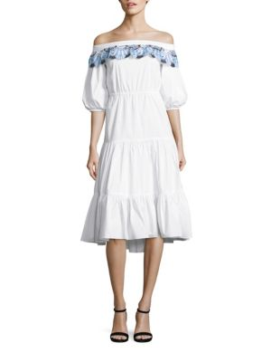 Pallas Embroidered Cotton Off-The-Shoulder Dress
