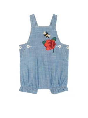 gucci baby baby girls embroidered chambray overall