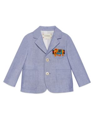 Baby Boy's Elephant-Detail Oxford Jacket