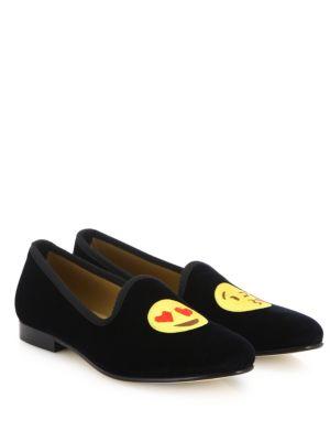 Emoji Kiss Velvet Smoking Loafers